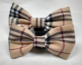 Brown Checkered Plaid - Bow Tie or Flower