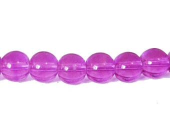 10 x 8mm Orchid glass round beads