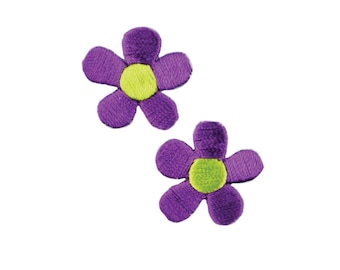 Purple Flowers Iron On Applique, Floral Iron On Patch, Flower Applique, Flowers Patch, Embroidered Patch, Pack of 2