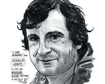 Douglas Adams poster print Great Writers