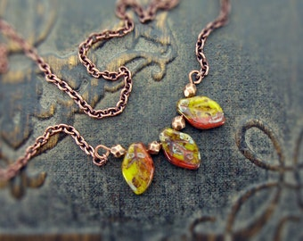 Rustic Leaf Necklace - Copper Simple Necklace - Red Chartreuse Green Czech Glass Leaves - Autumn Colors Leaf Jewelry Nature Woodland Jewelry