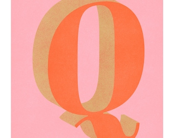 The Letter Q, Original Giclee Art Print, Typography, Alphabet, Monogram, Orange, Pink, Gold