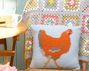 Farmhouse Style, Chicken Cushion, Crochet Pattern, Hen Pillow, Square Cushion, Sofa Pilllow, Farm Animal, Gray Cushion, Chook Pillow
