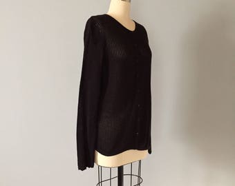 JEANNE PIERRE fishnet cardigan | 1990s cotton netted cardigan | black skinny fishnet cardigan