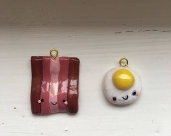 Bacon and Eggs polymer clay charm