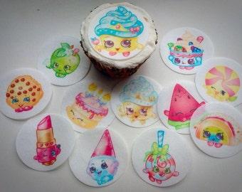 12 Shopkins edible paper, cupcake cookie topper Decorations PRE CUT