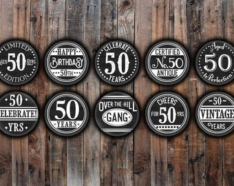 Set of 10 - 50th Birthday party pin back buttons, chalkboard style, black and white.