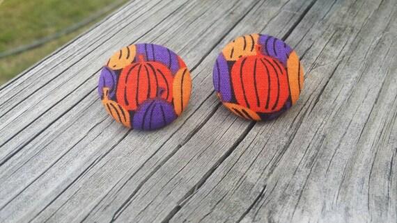 Button Earrings, Pumpkin Earrings, Fashion Jewelry, Costume Jewelry, Fabric Earrings, Round Earrings, Fall Earrings, Halloween Earrings