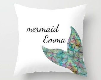 "Personalized Mermaid Pillow Cover 16"" 18"" 20"" 26"""