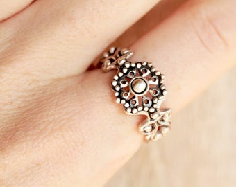 Boho Ring, Dainty Ring, Sterling Silver Ring, Mandala Ring, Casual Ring, Filigree Ring, Boho Engagement Ring, Small Ring, Silver Ring Boho