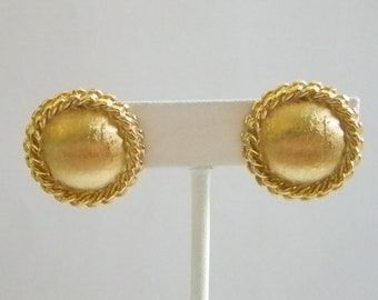 MONET Round Brushed Finish Clip On Earrings