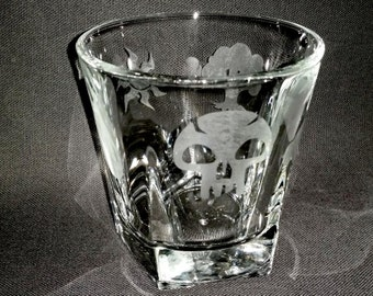 Magic Symbols Drinking Glass -Mana Nature Elements Etched