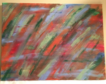 37 - Red, green, orange & blue, abstract acrylic painting, 18x24