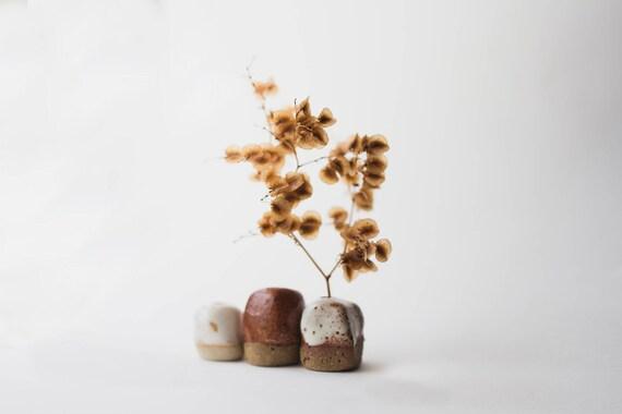 Three Tiny Bud Vases in Stoneware