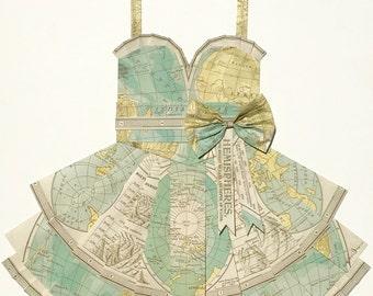 "WORLD HEMISPHERE Map Dress - CUSTOM Hand-Folded Map Dress - 18"" x 24"" - Choose your Style! - Nursery Wall Decor Art"