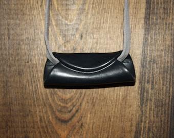 Black Ceramic Pendant on Grey Leather