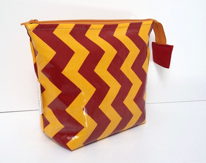 Gold Yellow and Dark Red Chevrons wipe clean wash bag, child's travel toiletry bag, Wizards Wash Bag