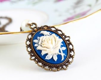 Cameo Necklace - Purple and Ivory Flower Cameo Pendant - Victorian Style - Nature Inspired - Floral Necklace - Gift For Her