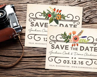 Woodland Vintage Save-the-Date Postcard; vintage, floral, country, rustic, weathered