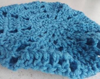 Blue Crochet Beret
