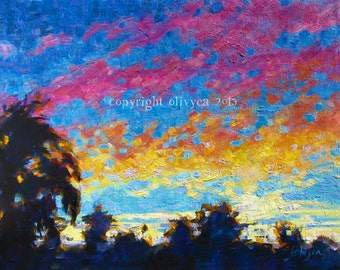"Oil Painting, Sunset Landscape, Ventura California, Palm Trees, Original, Fine Art, Impressionism, 14 x 18"""