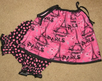 Eiffel Tower Pillowcase Top with Matching Diaper Cover Bloomers - will fit a 12 to 18 mth old, girls shortset, toddler short set