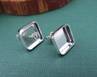 Square Bezel Sterling Silver Earring Blanks - 10 mm