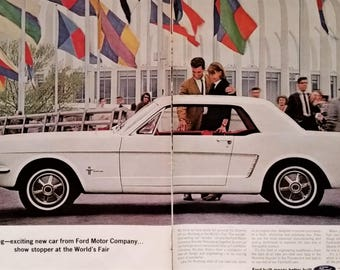 Ford Mustang 1964 White Magic Skyway Wonder Rotunda NY Worlds Fair Classic Model 2 pages Clean Fast Hot Rod Sport Car.  Ready to Frame 13x10