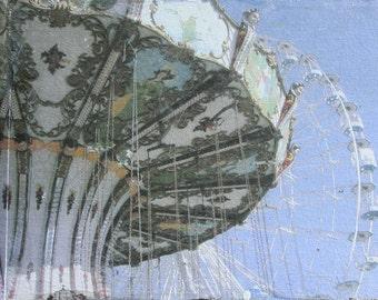 Carousel, Ferris Wheel, Swings, Boardwalk, Jersey Shore, Ocean City, Amusement Park, Art Print, Wall Decor, 8 x 10, Blue