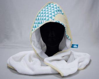"Hooded towel ""Calf"" - blue Triangles & yellow pinwheels"