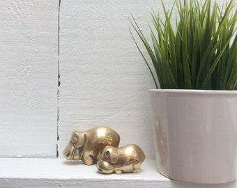 Vintage Brass hippos; hippopotamus, animal figurine