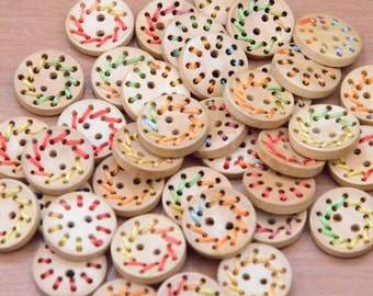 """20pcs 20mm 0.8"""" round wood button hand made natural wooden buttons wholesale."""