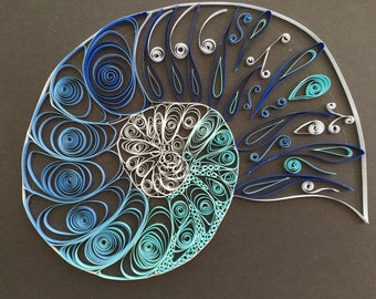 Paper Quilled Nautilus in blues
