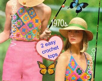 Top Crochet Pattern Vintage 1970s • Halter Crochet Pattern • Granny Square Vintage Crochet Pattern Boho Chic Hippie Top Instant Download PDF