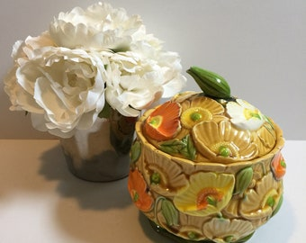 Vintage Art Pottery Canister Cookie Jar Flowers Inarco (?)