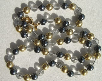 Vintage Joan Rivers Retired 10mm Gold and Gray Pearl with Clear Glass Bead Necklace