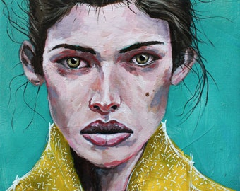 Portrait Print, Woman Print, Art Print, acrylic painting, Abstract Print - Wronged