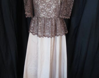 1970's JC Penney beige satin formal dress with brown lace bodice overlay size 10