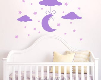 Moon, Clouds, Stars Baby Nursery Wall Decal Sticker NK-119