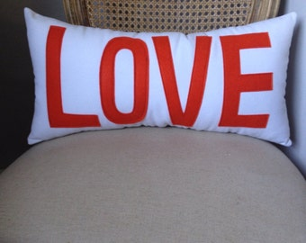 Orange and White LOVE Pillow Comes In ANY COLOR