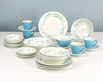 Vintage Blue Heaven by Royal China Dinnerware Set for 4, Includes Serving Bowl, Gravy Boat and Tray, Plates, Bowls, Teacups and Saucers