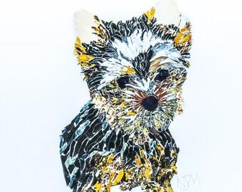 Handmade 30cm x 30cm Yorkshire Terrier Dog Collage