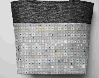 Gray squares Upholstery Fabric Handbags
