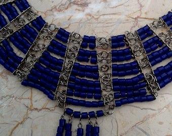 Silver Tone Blue Beaded Chainlinks Boho Bib Necklace // Costume Jewelry
