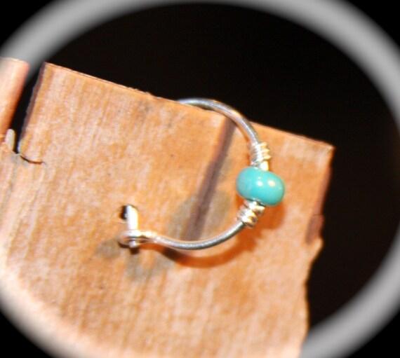 Sterling Silver Cartilage Earrings 24 22 20 Gauge Turquoise