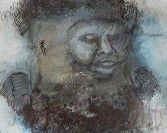 "Original art brut neo expressionist Mixed Media Small Drawing- ""Night Owl"""