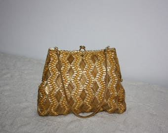 Gold colored handbag - gold purse - beaded evening bag - prom purse - vintage 1950's - sequinned purse - prom handbag