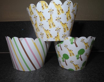 Giraffe Baby Shower Cupcake Wrappers  Set of 12  Celebration