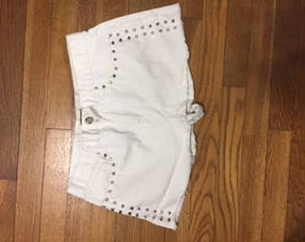 White Spiked Jean Shorts