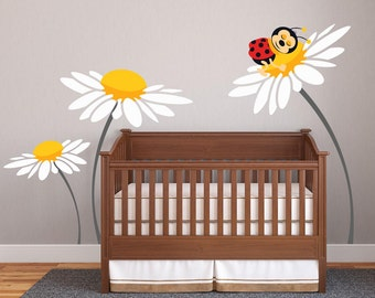 Baby Girl Nursery Ideas Daisy Lady Bug Decals For Walls Wall Sticker Room Decor Personalized DecalIsland Tree Decal SD 073
